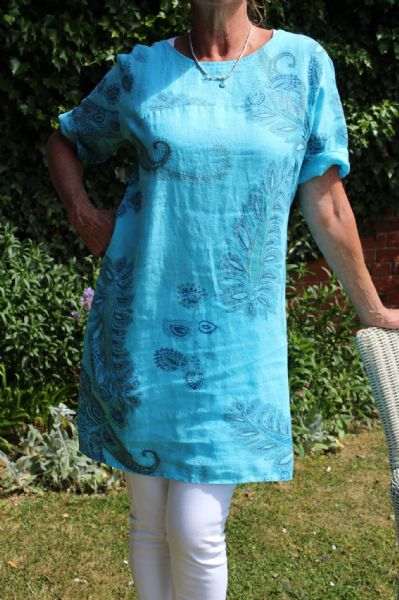 LINEN PAISLEY DRESS TURQUOISE WAS £55 NOW